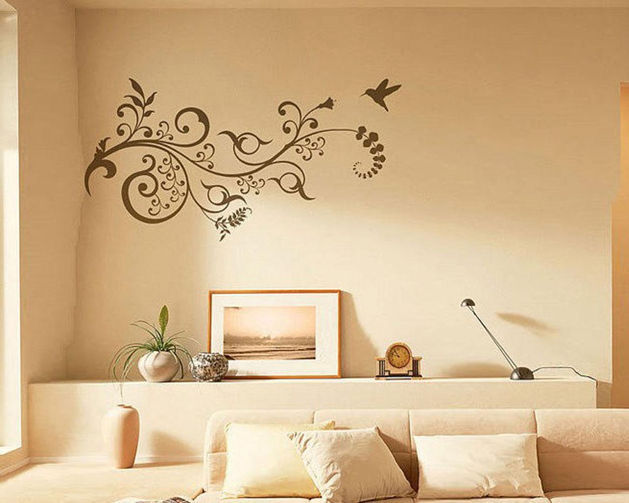 Узоры на стенах в зале фото