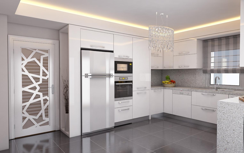 Modern beyaz mutfak dolab dizayni en son dekorasyon modelleri - Mutfak Dolab Tasar Mlar