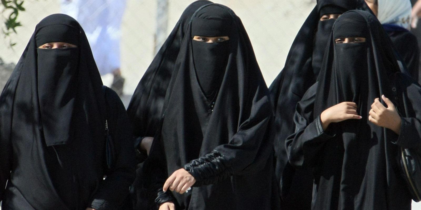 women burkas the Muslim at beach in