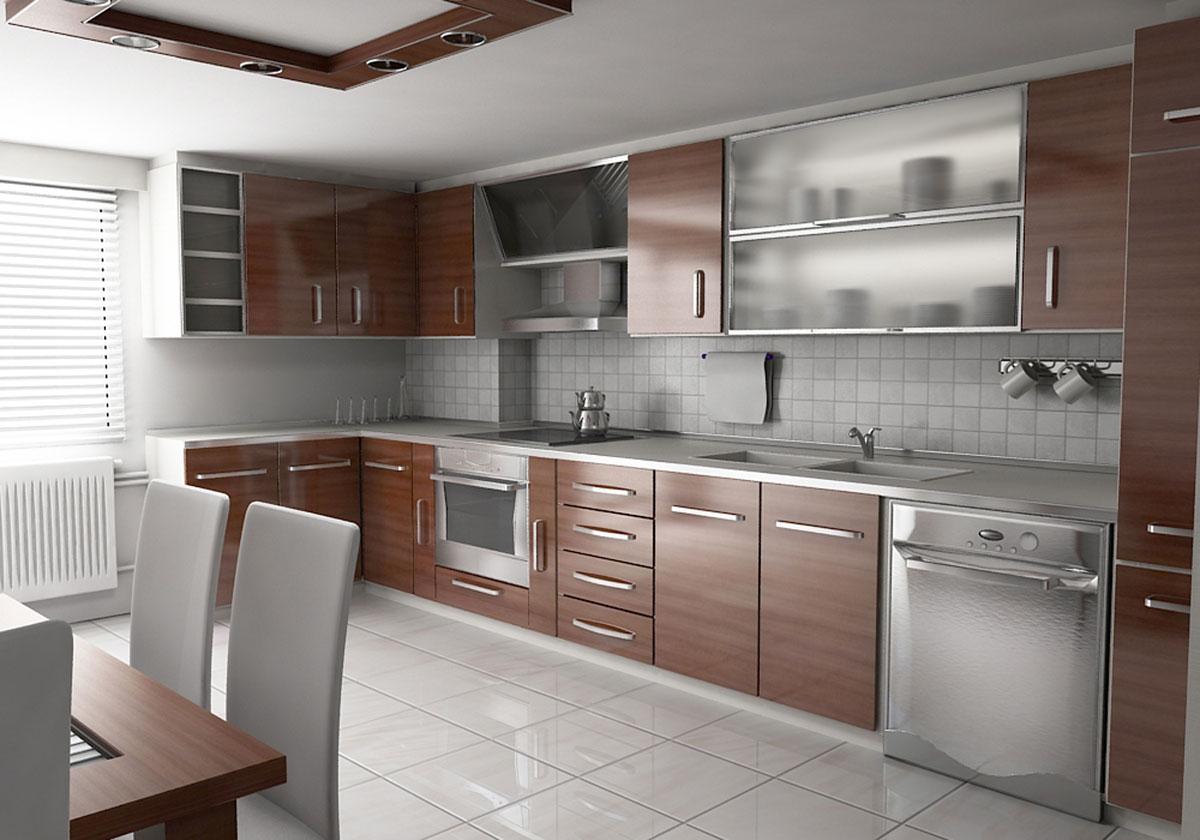 Koyu renkli modern bambu mutfak dolab modeli moda dekorasyonlar - Mutfak Dolab Modelleri