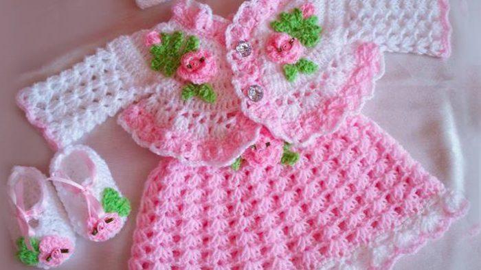 Kız Bebekler için Baharlık Örgü Elbise Modelleri