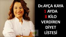 Dr.Ayça Kaya 1 Ayda 8 Kilo Verdiren Diyet Listesi
