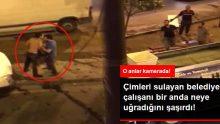 Sulama çalışması yapan belediye çalışanı çimlerde uyuyan kişi tarafından dayak yedi! Kamera kayıttaydı