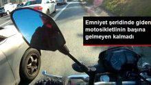 Emniyet şeridinde giden motosikletlinin başına pet şişe atıldı, 2 kez kaza atlattı
