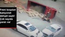 Freni boşalan kamyonetin, otomobile ve yayalara çarptığı anlar kameraya yansıdı