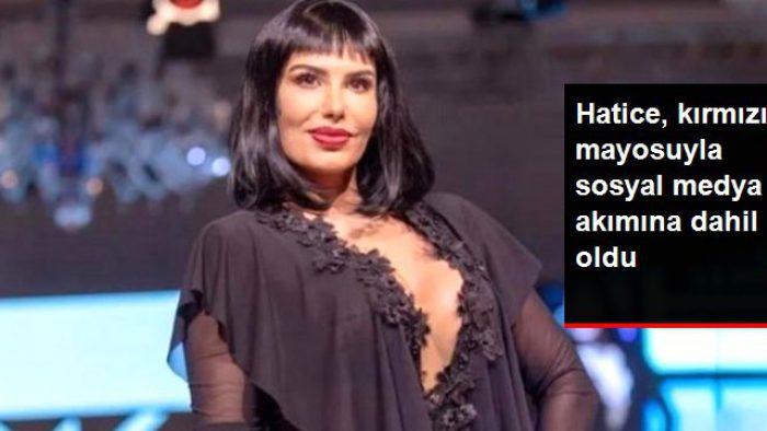 Güzel şarkıcı Hatice, kırmızı mayosuyla sosyal medya akımına dahil oldu