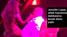 Dünyaca ünlü şarkıcı Jennifer Lopez, sahneye çıkardığı hayranının kucağında dans etti