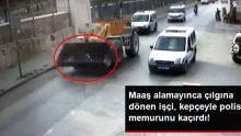 Bir işçi, maaşını alamayınca hem kepçeyi hem polis memurunu kaçırdı